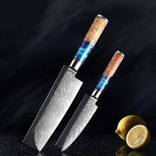 Load image into Gallery viewer, Super Sharp Stainless Steel Japanese Damascus Pattern Kitchen Knives Blue Resin Wooden Handle - Kitchen Altitude