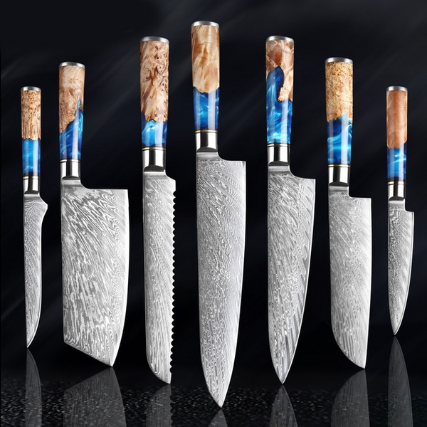 Damascus Japanese Kitchen Knives Set Blue Resin Color Wood Handle Chef Knife - Kitchen Altitude