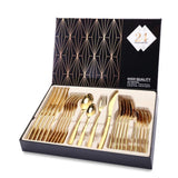 24PCS Tableware Cutlery Dinner Set Knives Forks Spoons 18/10 Stainless Steel - Gold and Silver - Kitchen Altitude