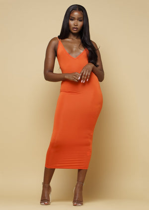 Orange double strap midi dress mislani
