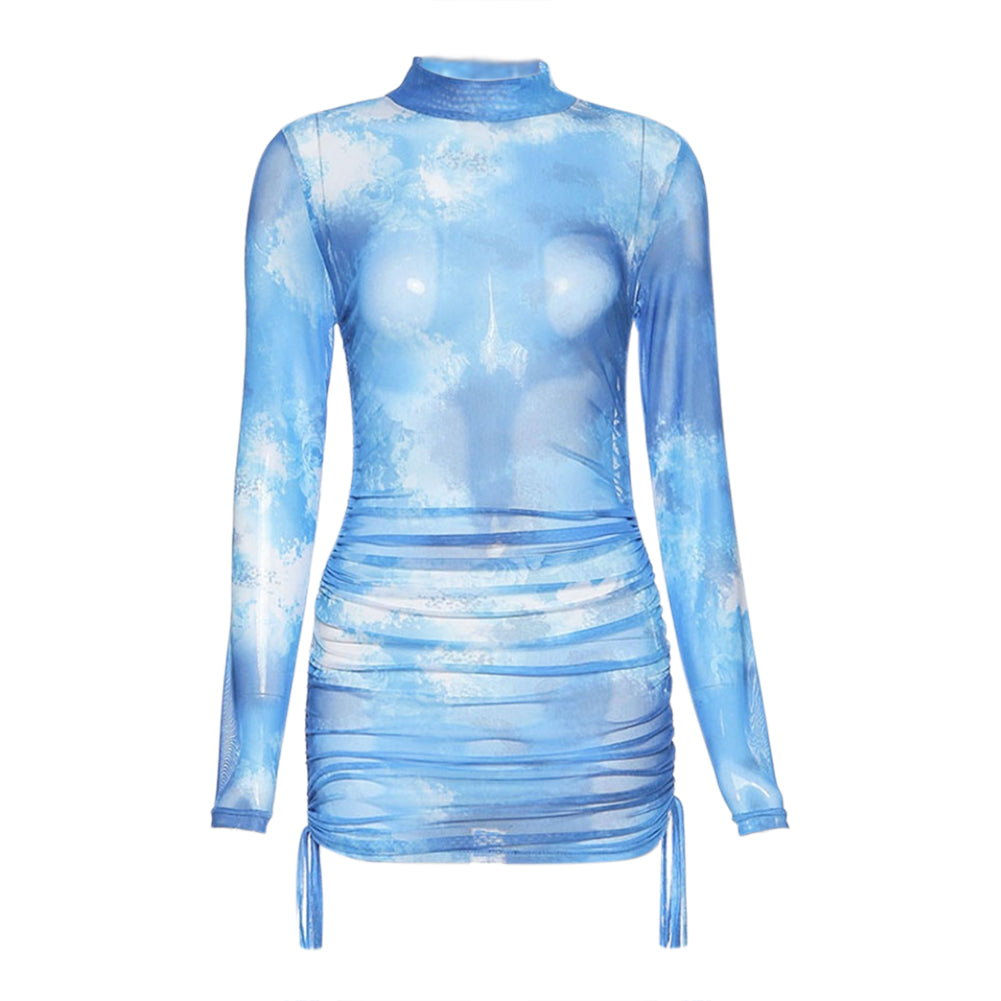 Mislani Blue Mini Mesh Dress