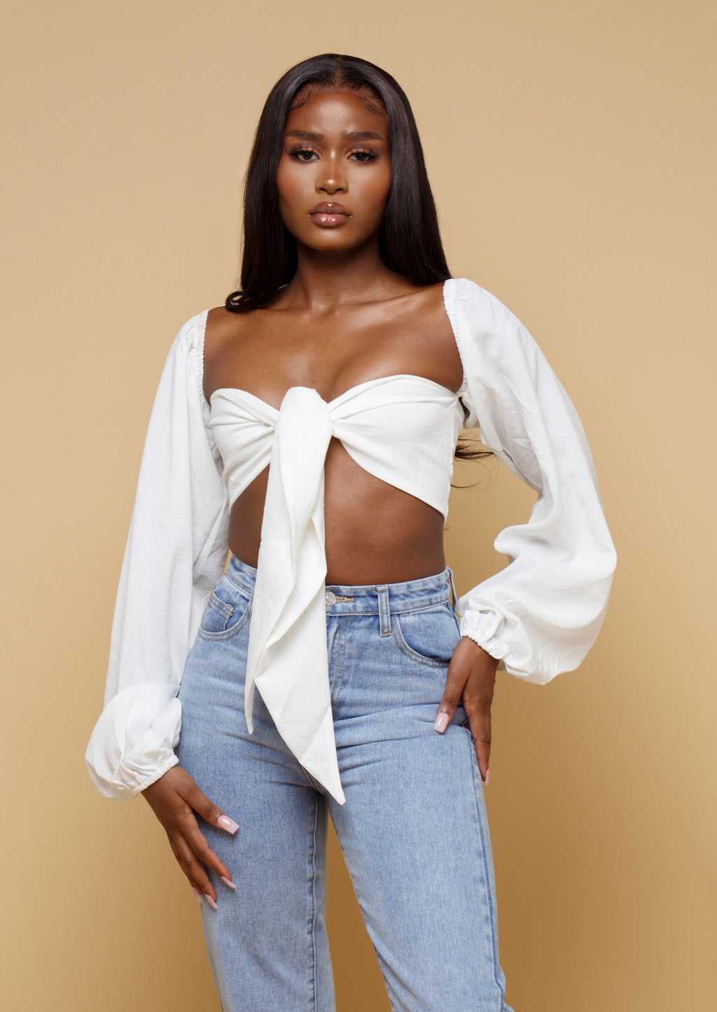Ava White Puff Sleeve Tie Front Top Mislani