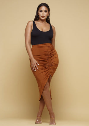 Rivera Rust Ruched Midi Skirt