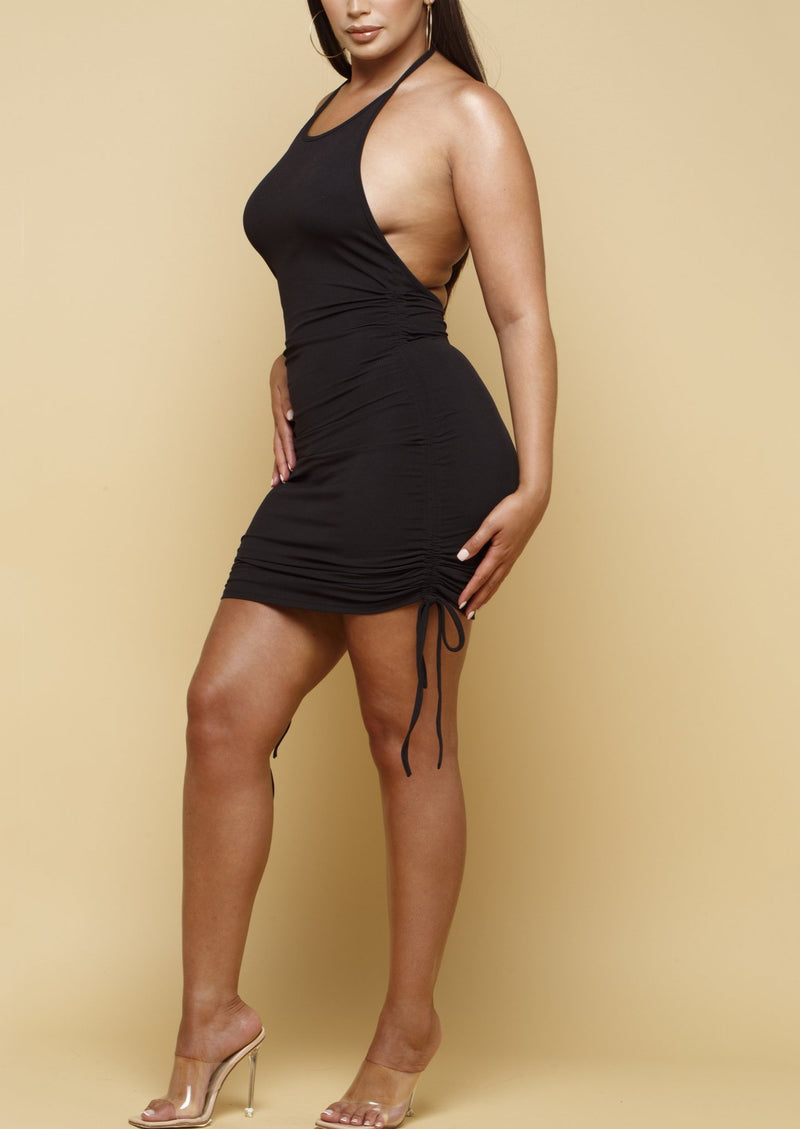 Robyn Black Ruched Halter Neck Dress