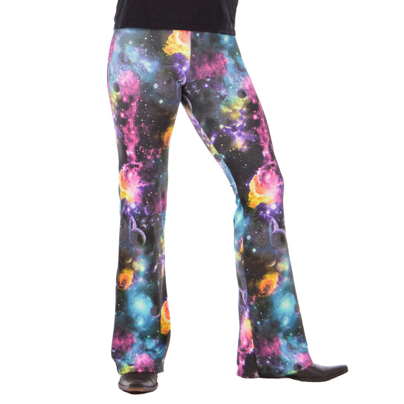Space: UV Reactive Psychedelic Space Flares - Mens Bell Bottom Festival Clothing