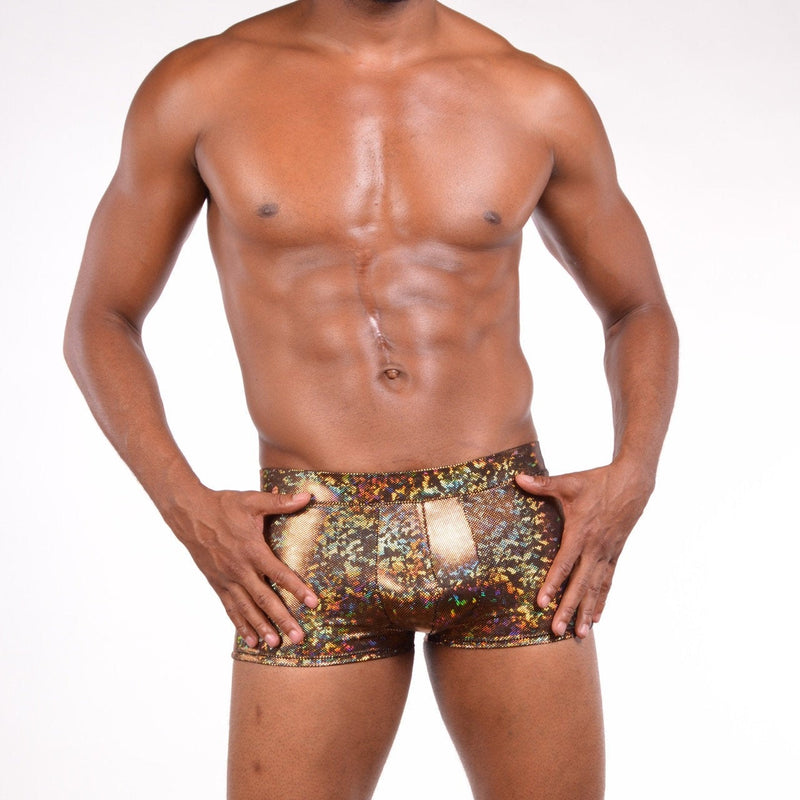 Holographic Gold Brief Booty Shorts With Front Pouch - Made in the USA - Festival Clothing