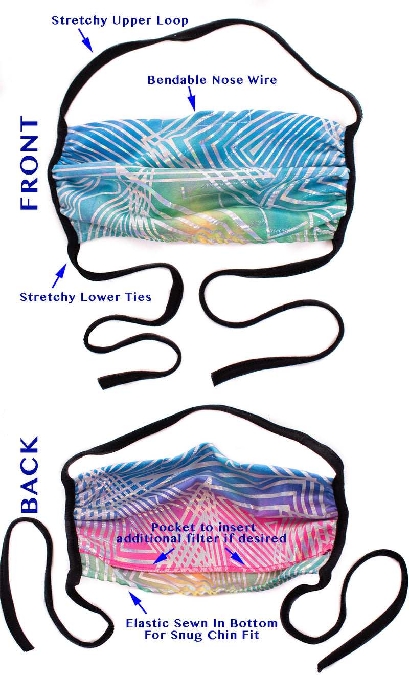 *6 COLORS* Buy1Donate1 Holographic Disco Face Masks (w/ filter pocket) - Washable & reusable