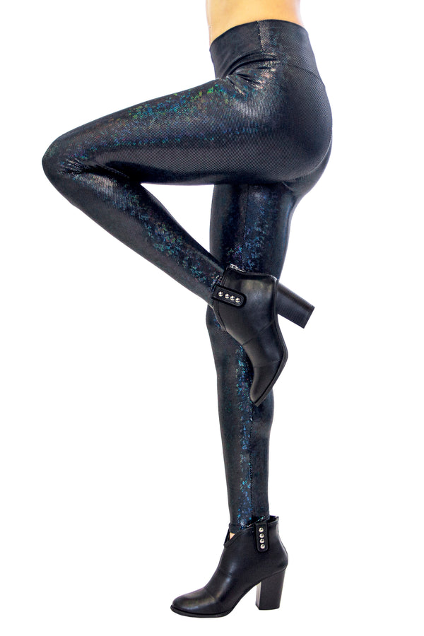 Holographic Black Disco Leggings - Women's Festival Clothing