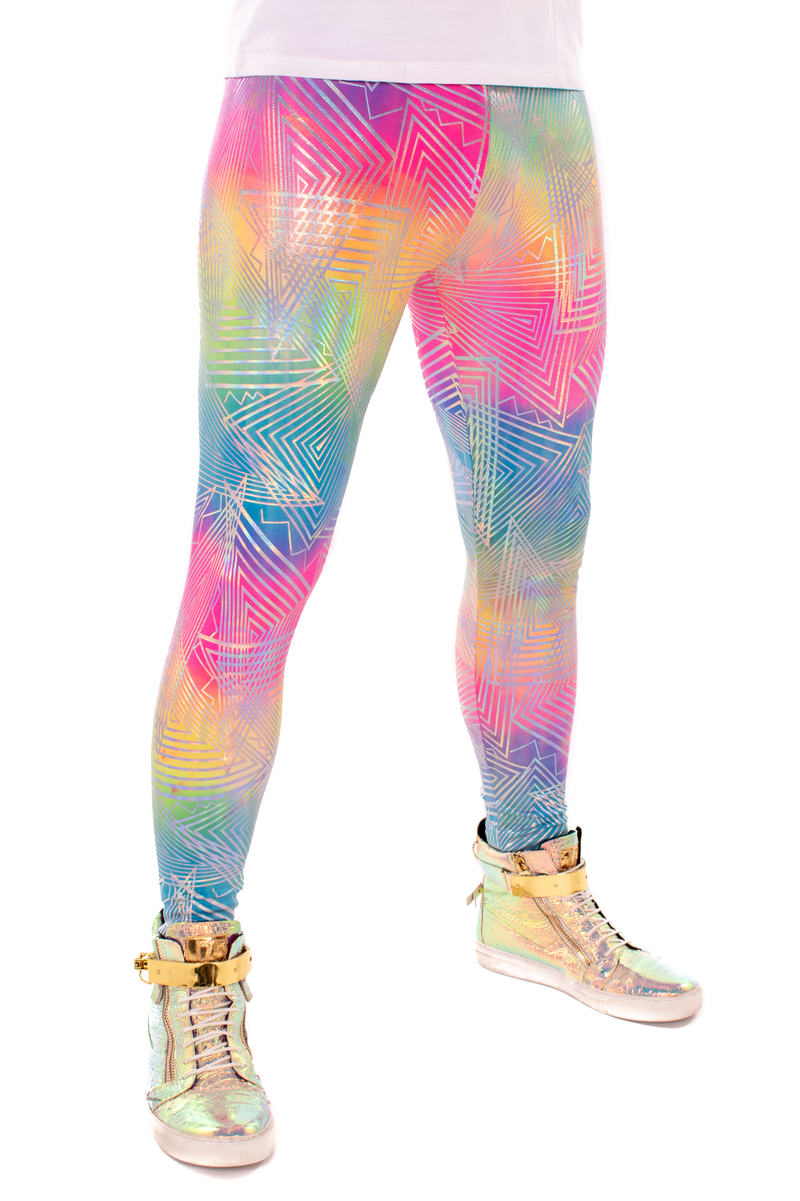 Rainbow Daze: Holographic Tie-Dye Rainbow Meggings - UV Blacklight Reactive Men's Leggings