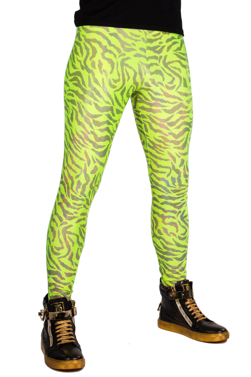 Neon Tiger Green Highlighter Yellow: Animal Print Meggings - UV Blacklight Reactive Mens Leggings