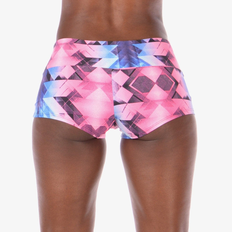 Women's Athletic Geometric Pink and Blue Booty Shorts