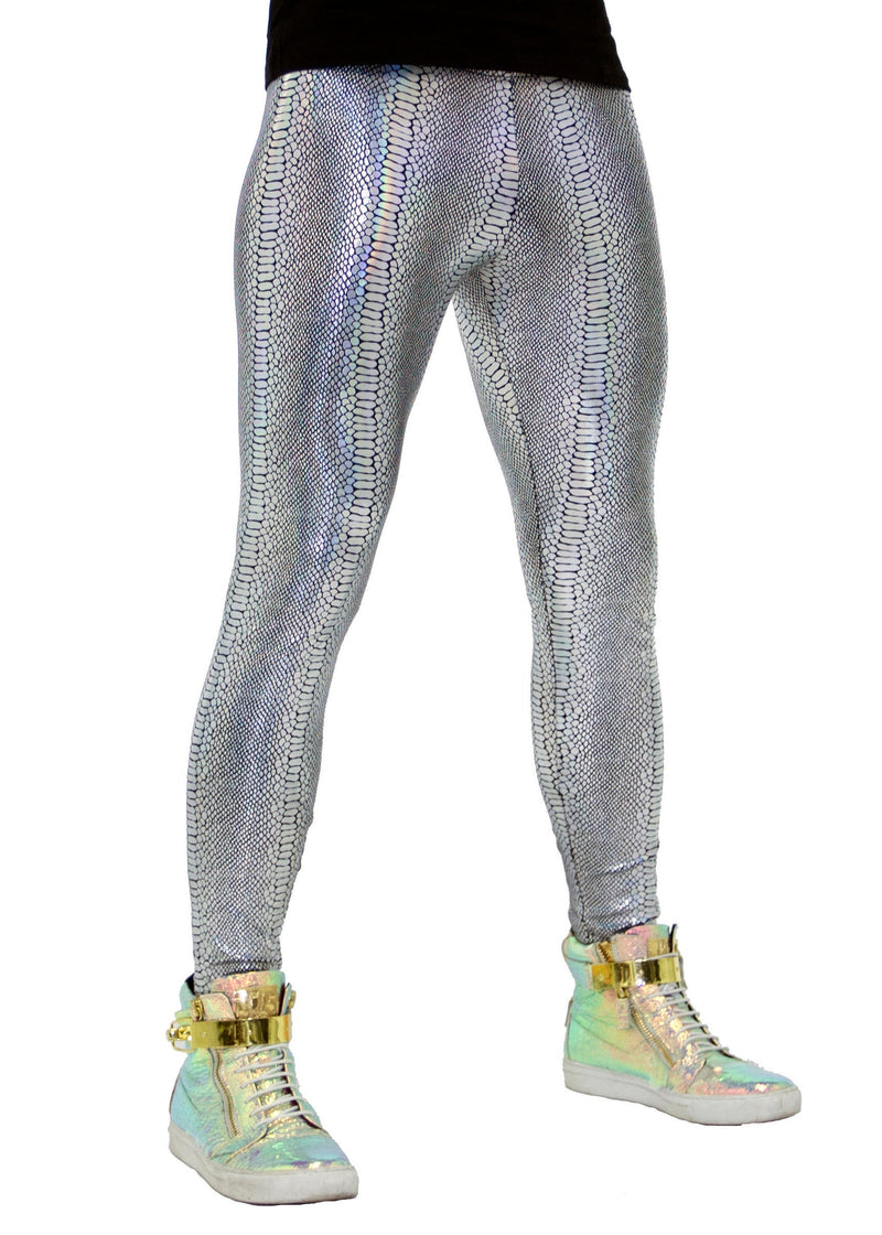 Snake Holographic Silver: Iridescent Silver Snake Skin Meggings - Men's Leggings & Rave Gear