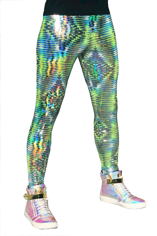 Dazzle Green: Holographic UV Blacklight Reactive Meggings - Abstract Trippy Tribal Print Mens Leggings