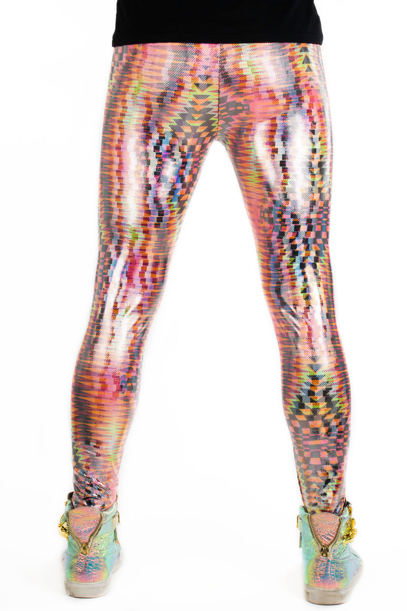 Dazzle Orange: Holographic UV Blacklight Reactive Meggings - Abstract Trippy Tribal Print Mens Leggings