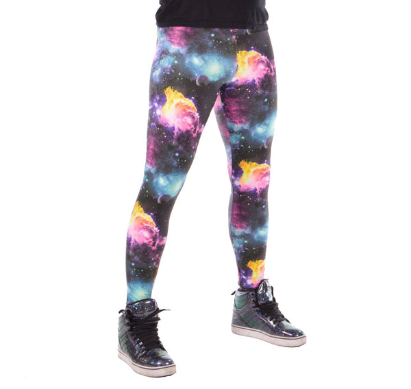 Space: UV Blacklight Reactive Psychedelic Galaxy Meggings - Outer Space Mens Leggings