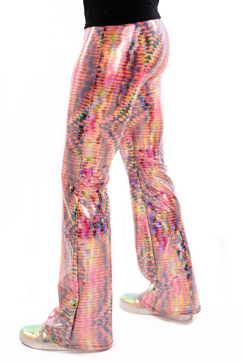 Dazzle Orange: UV Blacklight Men's Holographic Flared Pants - Trippy Tribal Print Bell Bottoms