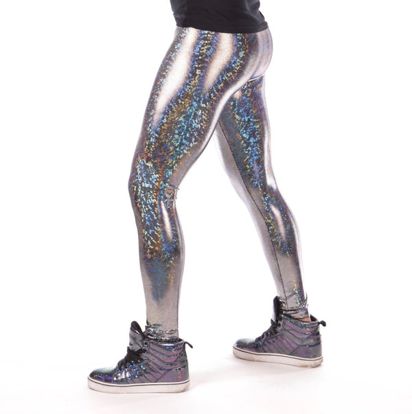 Disco Silver: Holographic Disco Silver Meggings - Mens Festival Leggings