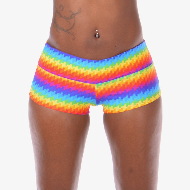 Women's Rainbow Pride Booty Shorts: Pole or Yoga Shorts