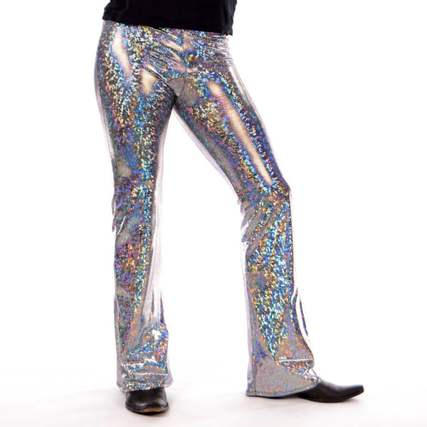 Disco Silver: Holographic Silver Mens Flares - 70's Mens Bell Bottoms