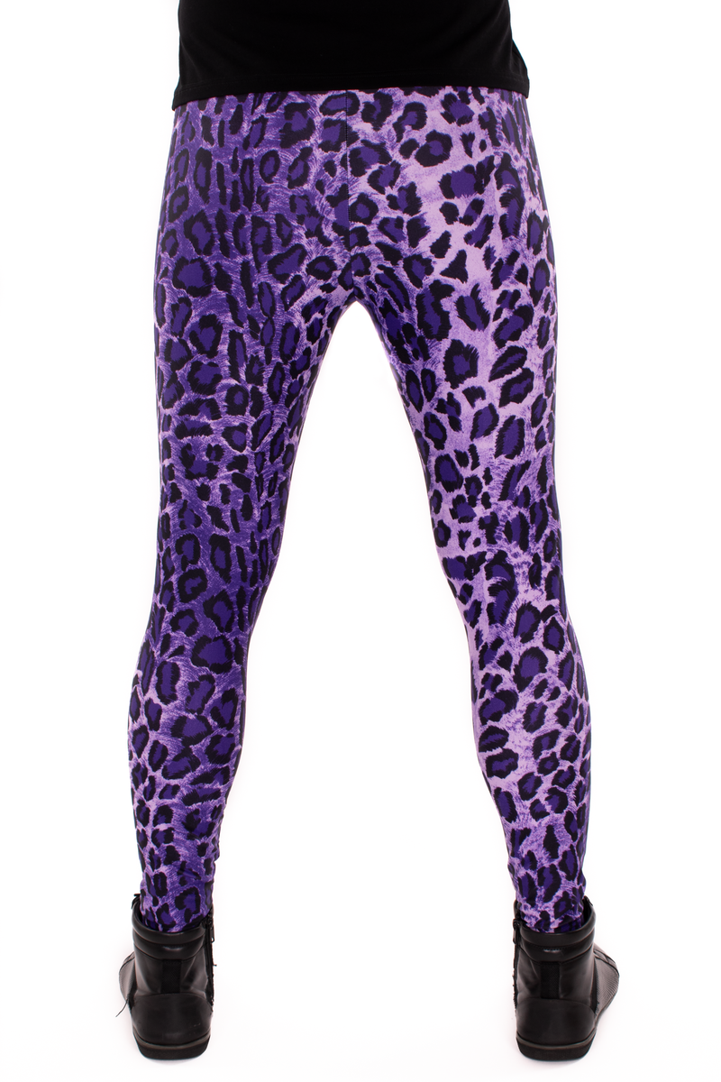 Leopard Purple Animal Print Meggings - Mens Party Leggings