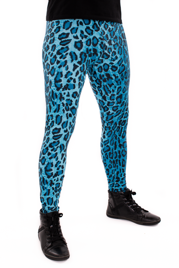 Leopard Blue Animal Print Meggings - Men's Party Leggings