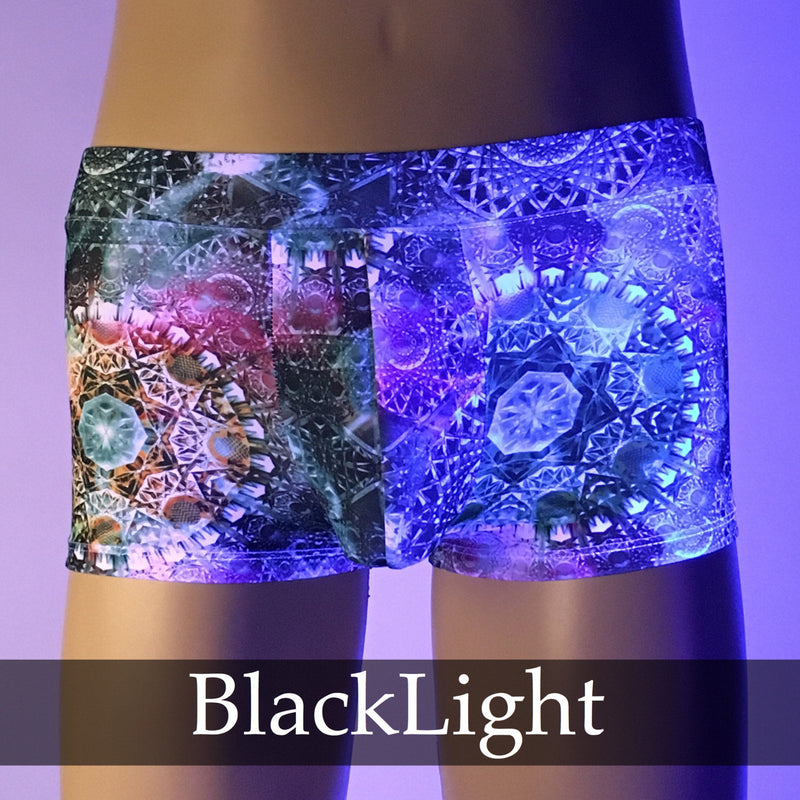 Green Fractal Brief Booty Shorts With Front Pouch - Made in USA - Festival Clothing