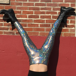 Holographic Silver Disco Leggings - Women's Festival Leggings