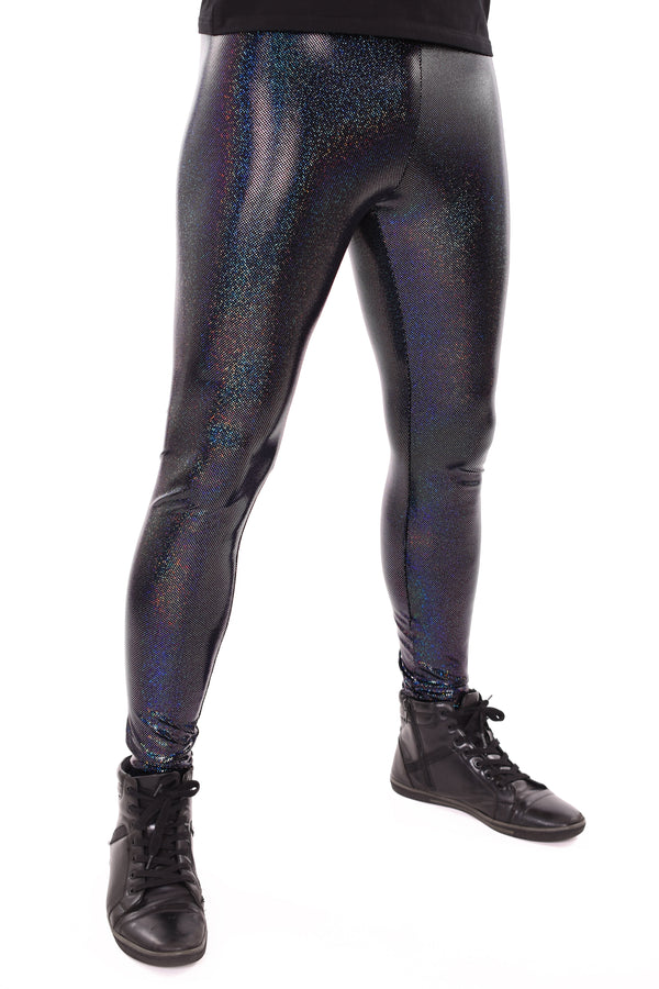 Holographic Black Meggings: Men's Disco Leggings - Festival Clothing For Men