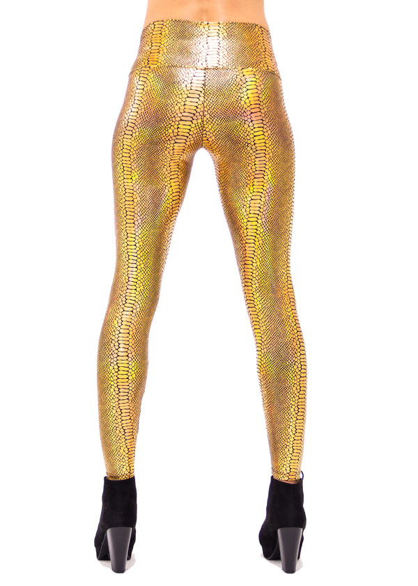 Women's Gold Holographic Snake Print Leggings - Women's Snake Skin Leggings