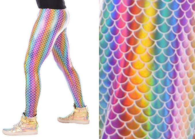 Holographic, Rainbow, Meggings, Leggings, Burning Man, Festival, Clothing, Men, Made in the USA, Revolver Fashion, Los Angeles.