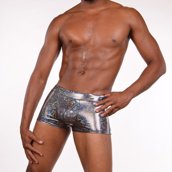 Holographic Silver Brief Booty Shorts With Front Pouch - Made in The USA - Festival Clothing
