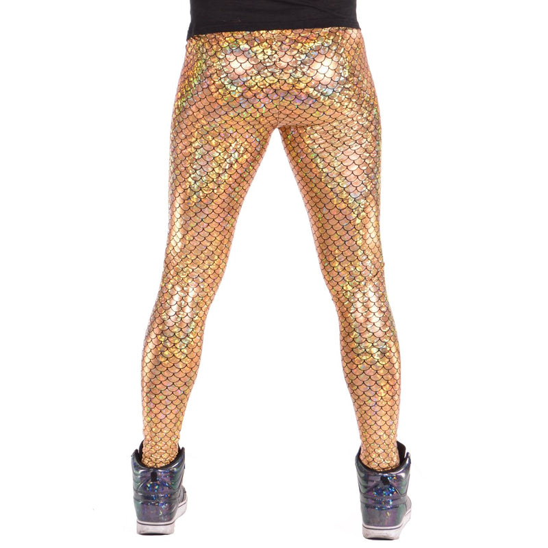 Mermaid Gold: Holographic Merman Meggings - Mermaid Scale Mens Leggings