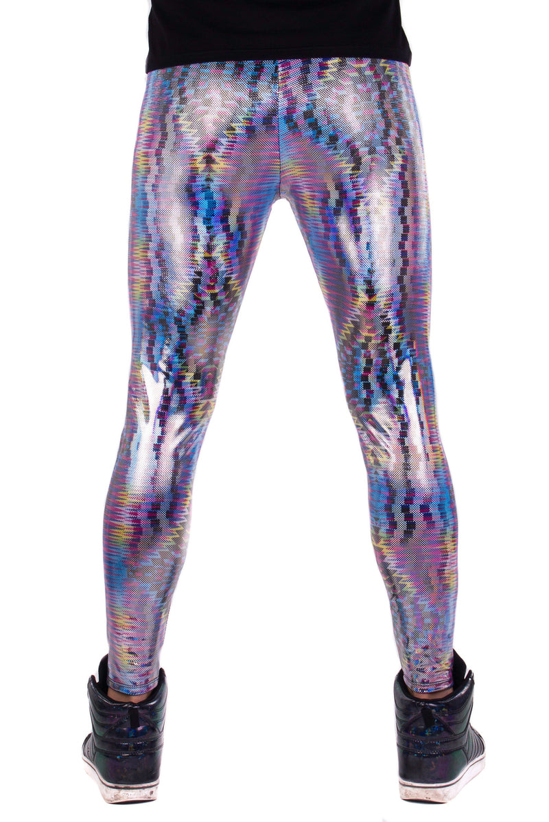 Dazzle Blue: Holographic UV Blacklight Reactive Meggings - Abstract Trippy Tribal Print Mens Leggings