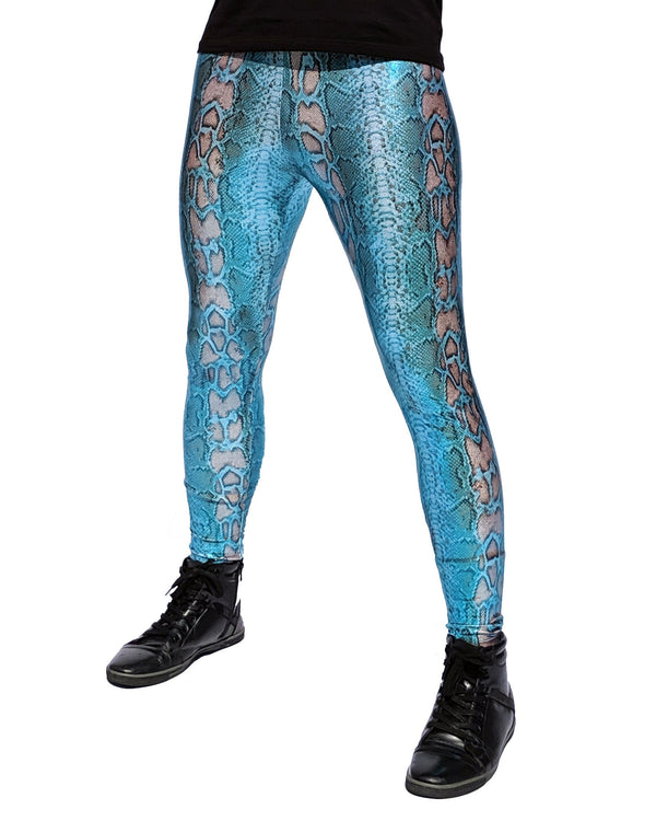 Snake Blue Shimmer: Holographic Snake Skin Meggings - Iridescent Blue Snake Mens Leggings