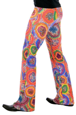 Flower Power: Psychedelic Flower Flare Bell Bottom Pants - Great Festival Wear or 60's or 70's Costume