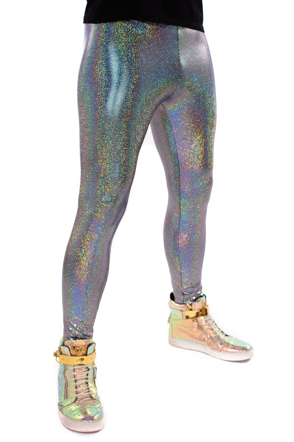 Holographic Silver Meggings: Men's Disco Leggings - Festival Clothing For Men