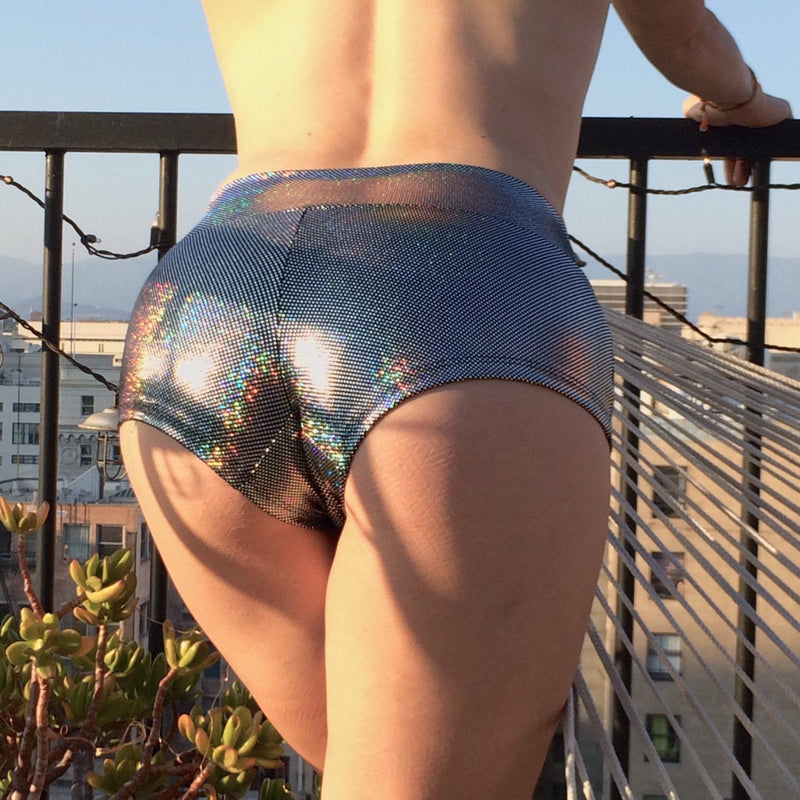 Holographic Silver Disco Women's Booty Shorts - Yoga & Pole Shorts