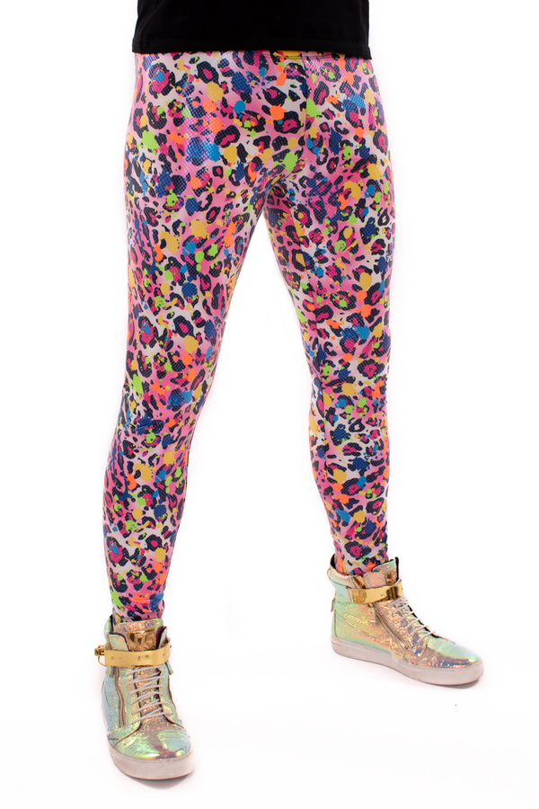 Party Animal Meggings: Colorful Leopard Print Mens Leggings - UV Blacklight Reactive - Fun 80's Costume