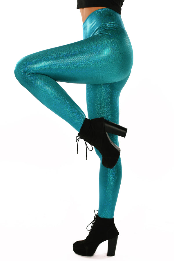 Holographic Teal Leggings: Women's Iridescent Aqua Disco Wide Waistband Leggings