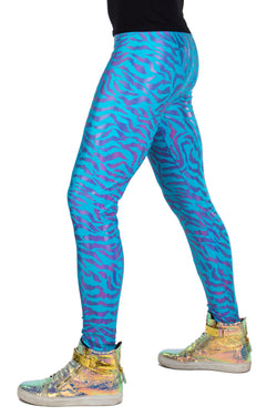 Neon Tiger Blue: Animal Print Meggings - UV Blacklight Reactive Mens Leggings