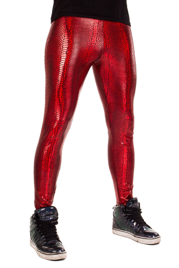 Snake Red: Iridescent Ruby Red Snake Skin Meggings - Men's Leggings & Rave Gear