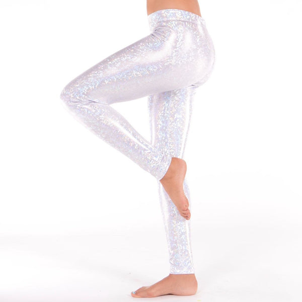 Holographic White Disco Leggings - Women's White Party Outfit!