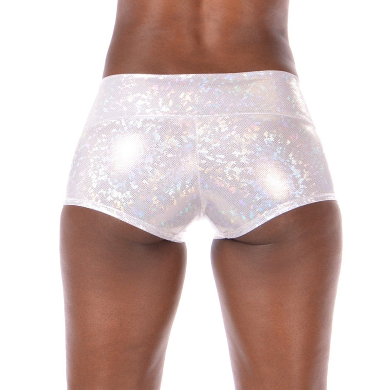 Women's Winter White Disco Booty Shorts - Yoga & Pole Shorts