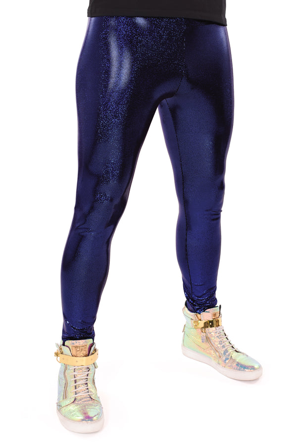Holographic Royal Blue Meggings: Men's Disco Leggings - Festival Clothing For Men