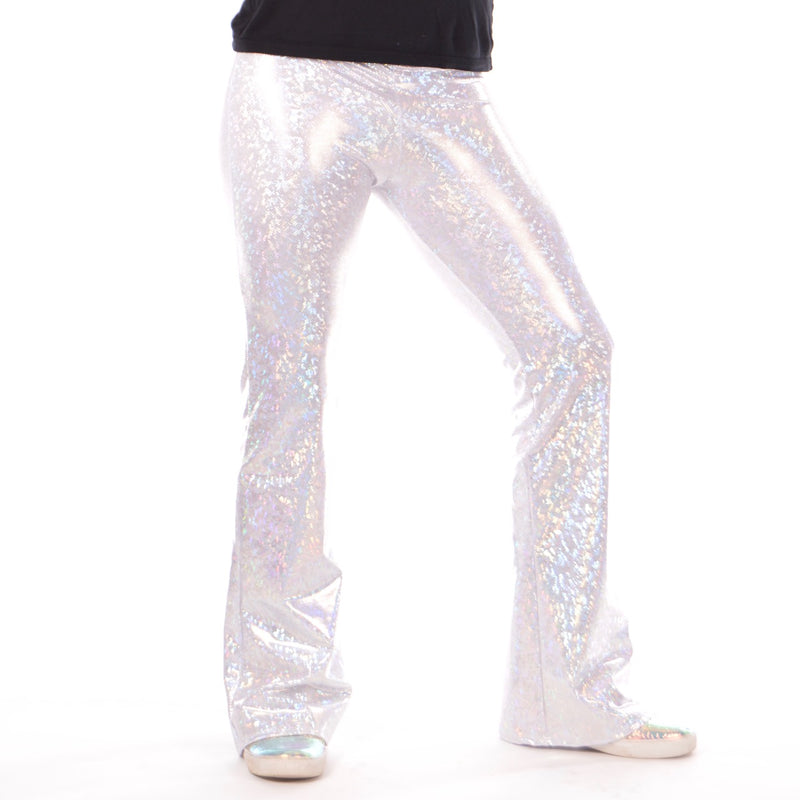 Disco White: Holographic Men's Flares - 70's Men's Bell Bottoms or White Party Outfit