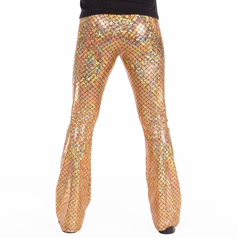 Mermaid, Flares, Holographic, Gold, Meggings, Leggings, Burning Man, Festival, Clothing, Men, Made in the USA, Revolver Fashion, Los Angeles.