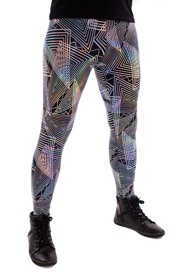 Disco Daze: Funstigator Men's Silver Disco Leggings