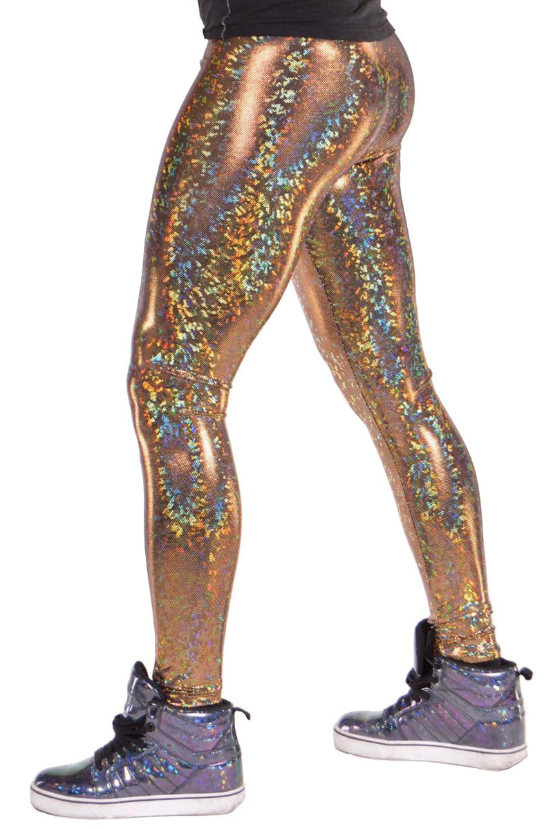 Disco Ball, Made in the USA, Holographic, Gold, Meggings, Leggings, Burning Man, Festival, Clothing, Men, Revolver Fashion, Los Angeles.