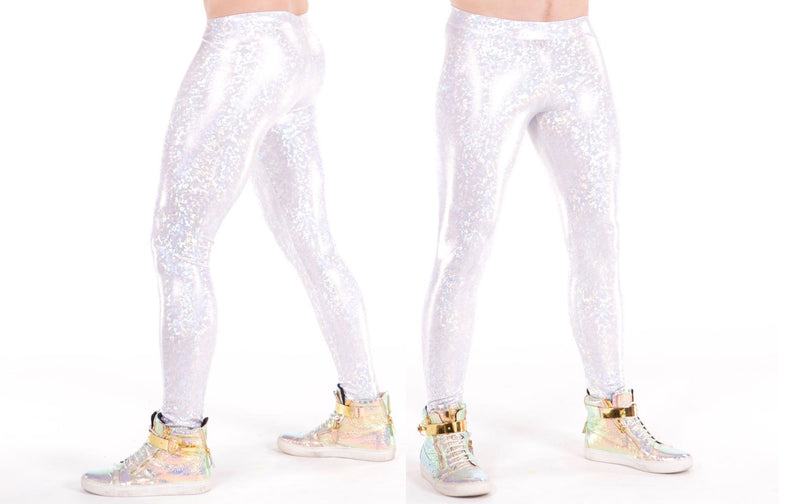 Disco Ball, Made in the USA, Holographic, White, Meggings, Leggings, Burning Man, Festival, Clothing, Men, Revolver Fashion, Los Angeles.