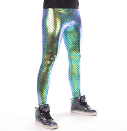Mermaid, Holographic, Aqua, Purple, Meggings, Leggings, Burning Man, Festival, Clothing, Men, Made in the USA, Revolver Fashion, Los Angeles.